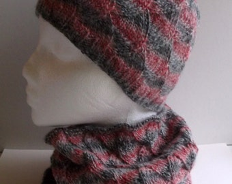 Women's hand knitted infinity cowl neckwarmer and beanie hat set. Pink and grey