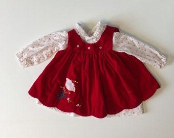Vintage Bows & Red Velvet Dress (12 months)