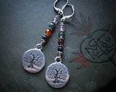 Yggdrasil Tree of Life Earrings in Silver. Wicca Cross Quarter Days Jewellery