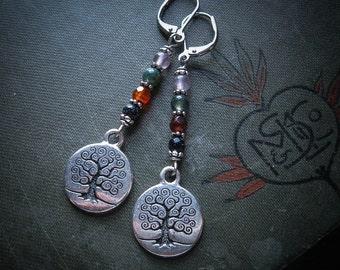 Yggdrasil Tree of Life Earrings in Silver. Wicca Cross Quarter Days Jewellery
