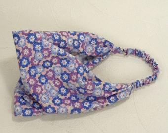 Retro Flower Headband in Denim Blue, Purple and Pink Flowers Hippie Cotton Head Wrap Handmade by Thimbledoodle