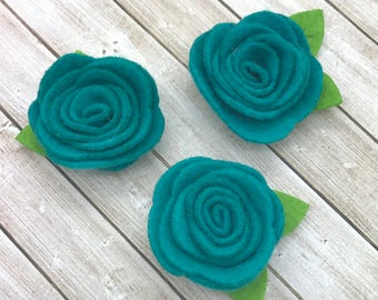 "2"" felt rosette with leaf, TEAL felt rose flowers, small felt flowers, DIY headband supplies, you pick colors, wholesale fabric flowers"
