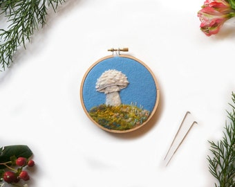 Woodland Toadstool 36 - Needle Felted Wool Painting Hoop - 4""