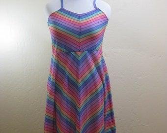 Vintage Dress, Summer Dress, 70s Vintage, Rainbow Dress, Spaghetti Staps, Oops California, 1970s Vintage, Beach Dress, Vintage Ladies Dress