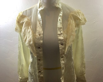 Vintage Clothing, Vintage Blouse, Cowgirl Shirt, Rodeo Queen, Snap Shirt, Pearl Snaps, Cowgirl Clothing, Western Blouse, White Satin, Snaps