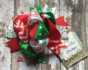 Funky Christmas Hair Bow, Christmas hair bow , Christmas hair clip, red white and green Christmas hair bow