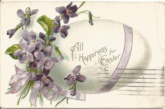 Large Easter Egg with Purple Ribbon and Purple Violets Happy Easter Greeting Vintage Postcard