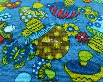 Mushroom and butterfly, on blue, 1/2 yard, pure cotton fabric
