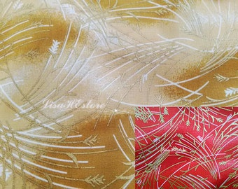 Golden and ivory wheat, on marbled, fat quarter, pure cotton fabric
