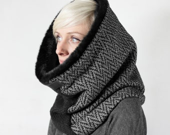 Faux fur scarf, faux fur cowl, hooded fau fur cowl, fake fur snood, Snock®, super warm