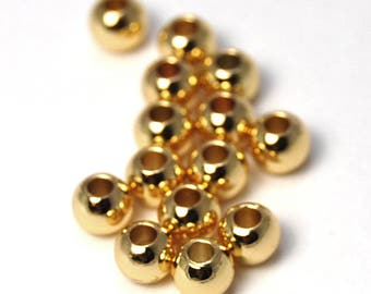 Gold finish Brass Beads, 4mm round -50pc