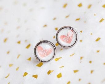 Hope Heart Earrings, Pink, Heart Earrings, Heart Studs, Pink Heart Studs, Hope, Heart, Hope Jewelry, Heart Stud Earrings, Inspirational