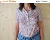 SALE Floral Print Nylon 60's Short Sleeve Shirt