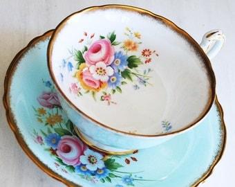 Paragon Teacup and Saucer / Pale Blue Floral Tea Cup