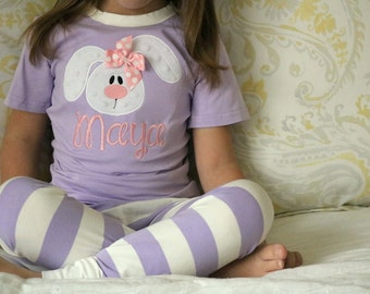 Easter Bunny Pajamas for Girls and Boys - Personalized super soft jammies with soft bunny - lavender striped or light blue striped