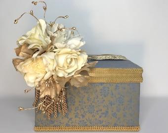 Brocade Blue Gold One Tier Wedding Card Holder, Wedding Money Box, Custom Card Box, Handmade, Gift Card Boxes,  Wedding Gift BoxDazzle Bling