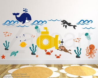 Kids Wall Decals - Underwater world, Whale ,octopus, ocean, dolphin, submarine Wall decal Wall Sticker- Large