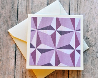 Purple Geometric Mini Cards // Set of 4 // Blank Cards // Enclosure Cards // Love Note // Gift Tag