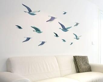 Flock of Sea Birds Wall Decals (1290-17)