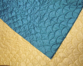 """Vintage quilt whole cloth blue and yellow  hand quilted satin fabric 76"""" x 96""""   1950's"""