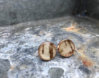 Copper birch bark stud earrings