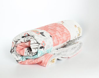 Fawn and Deer Patchwork Blanket - Girl Coral and Mint Woodlands Baby Blanket