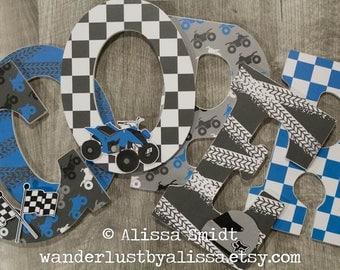 Four Wheeler Letters, Quad Letters, Baby Nursery - Custom Nursery Wooden Letters, 9 inch size (grey, gray, blue, black, dirt bike)