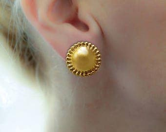 Large Gold Plated earring, Stud earring, Round Stud Earring, Gold Stud Earrings, Geometric Studs earring, gift for woman, Big Statement Stud