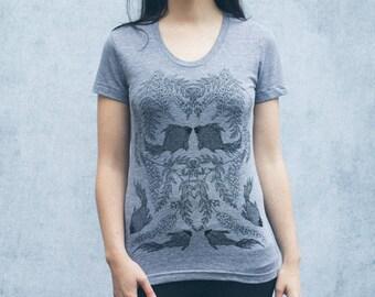 Heathered Grey Wisteria and Black Goldfish Screen Print Women's T-Shirt