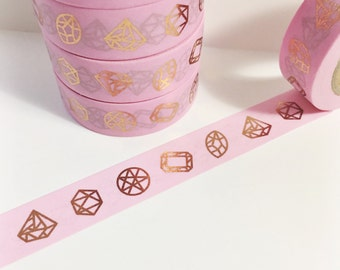 Bright Shiny Metallic Rose Gold Diamonds and Gems on Bubble Gum Pink Washi Tape 11yards 10meters 15mm