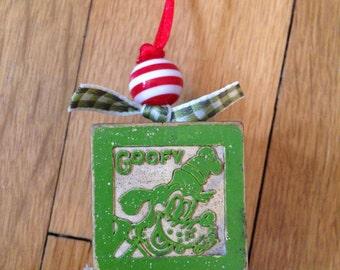 Goofy Disney vintage Christmas ornaments three little pigs