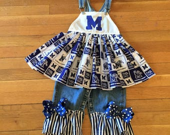 Size 2 University of Memphis overalls