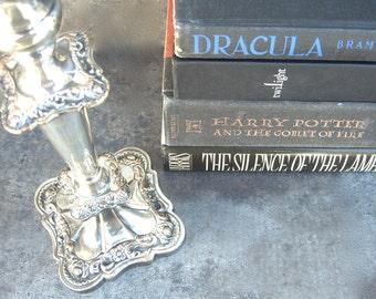 Vintage Silver Plate Candlestick, Ornate Floral Emile Viner Sheffield Silverplate Candle Holders, Elegant Table, Fancy Fine Dining