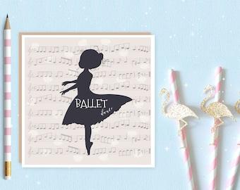 Ballerina Blank Greeting Card, ballet card, ballet, ballerina, ideal for ballet lovers and ballerina's