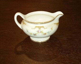 Delicate Homer Laughlin Nautilus Eggshell China Creamer in the Aristocrat Pattern, Soft Floral on Creamy White