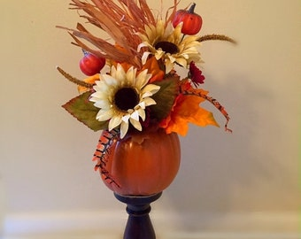 ON SALE Sunflower Pumpkin Topiary Fall Thanksgiving Rustic Floral Arrangement Fall Feather Floral Autumn Table Floral