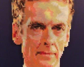 Doctor Who #12 | Doctor Who Fan Art | Peter Capaldi | Twelfth Doctor | 24x24 Canvas | Geek Craft | Perler Bead Portrait | British Television
