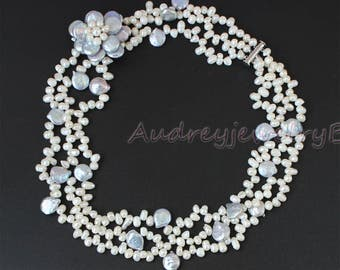 3 Row Baroque Freshwater Pearl necklace Freshwater Pearl Necklace Coin Pearl Beads Necklace , wedding necklace, Mother's Day gift