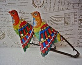 VINTAGE Tin Toy Birds, Lovely Chirping Tin Birds, Tin Toy Flapping Birds, Moving Toy, Vintage Collectors Toys, Tin Toy, NOT Wind Up Toy