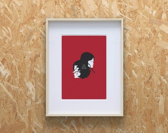 White Stripes Print - A4 Size, Jack White, Meg White,Band, Red and black illustration, Illustration Print, White Stripes Band, minimal print