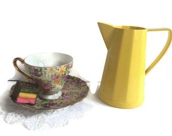 Yellow milk pitcher, Vintage hotel-ware Silver Plate Re-surfaced by BMC Vintage Design Studio FOOD SAFE