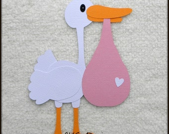 Die Cut Stork Newborn Baby Girl Delivery Scrapbook Page Embellishments for Card Making Scrapbook or Paper Crafts