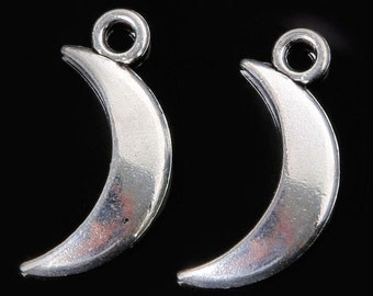 6pcs-Moon charm-Antique silver tone Moon Crescent charm