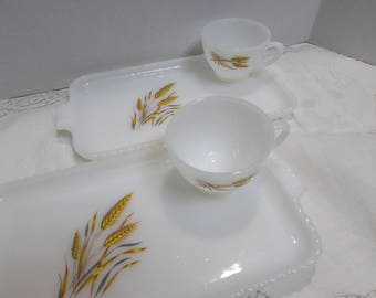 Anchor Hocking Milk Glass Snack Set with Wheat Grass Design - Set of 2