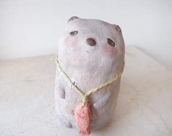OOAK Small ceramic sculpture Beaver with fish