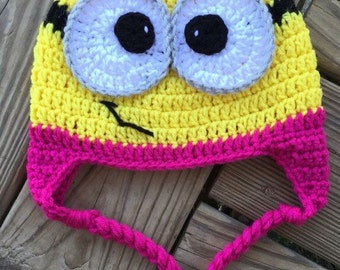 Baby Toddler Girl Yellow Pink MINION Crochet Earflap Hat with Braids with Bow - You Pick Size: Newborn to 10yrs - Cute Winter Hat