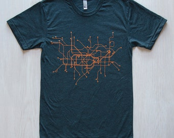 London T-Shirt- Black Aqua/Orange