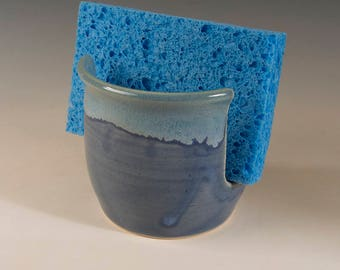 Sponge Holder with translucent sapphire and flowing blue-green glaze by Seiz Pottery