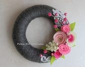 """Gray Yarn Wreath with Lace - 8"""""""