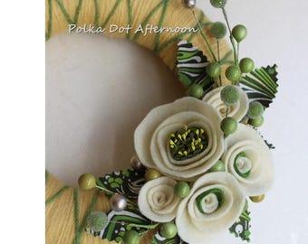"Soft Yellow Yarn Wreath - 8"""